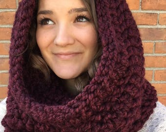 Northern Woods Oversized Cowl in Wine // Crochet Hooded Cowl // Crochet Infinity Scarf // Chunky Crochet Scarf