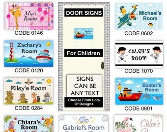 Personalised Childs Room Door Name Sign Plaque for Kids, Children or baby Over 90 Unique Designs