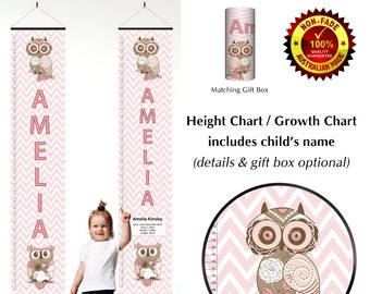 Girls Chevron Owl Pastel Pink Theme Growth Height Charts, Wall hanging bedroom decor for childs room