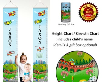 Transport Height Growth Chart Personalised with City Cars Planes and Trains