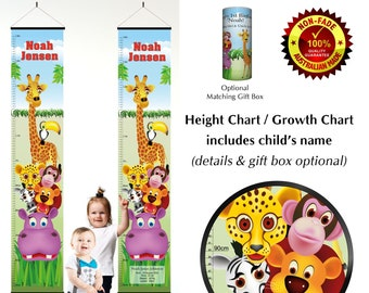Height Growth Chart - Cute Jungle Zoo Animals Stacked on Giraffe, Christmas or 1st Birthday, Toddler, Baby, Kid, Child Personalised Gift.