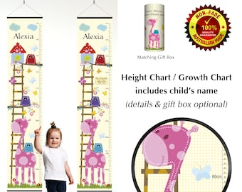 Height Growth Chart for Newborn or Baby Girl with Cute Pink Giraffe and Owls