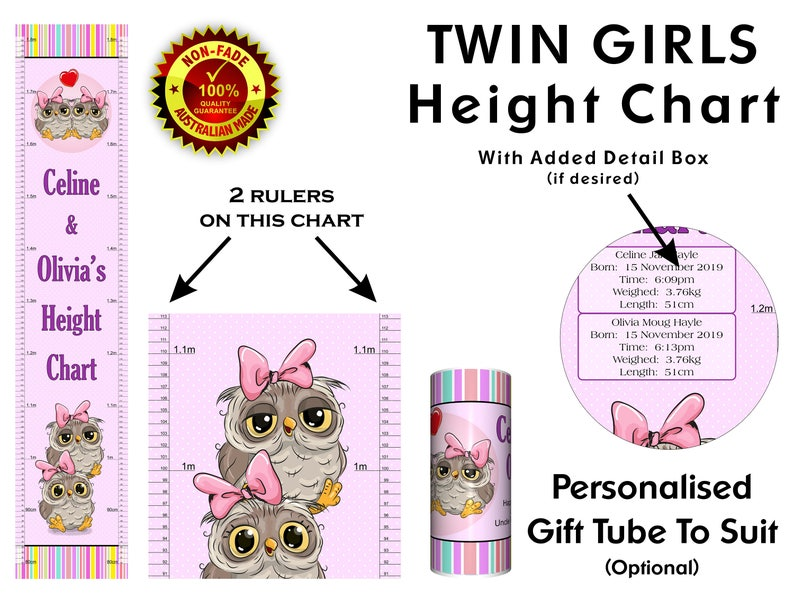 Height Chart For Baby Twin Girls Or Girl Sisters New Born