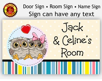 Room Door Name Sign for Baby Twin Girl and Boy or Sister, Brother, Owl Theme Plaque