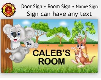 Australia Koala and Kangaroo Name Room Door Sign, Plaque