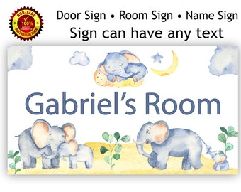 Personalised Kids Name Room Door Sign, with Elephants for Baby or Child in Watercolour Theme