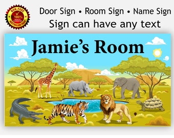 Room Door Sign Safari Animals with any name plaque for Kids Children