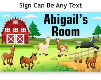 Horses near Stable Name Bedroom Door Name Sign Plaque