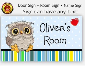 Nursery Room Door Sign Cute Owl for Baby Boy