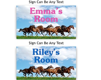 Room Door Name Sign with Running Horses Plaque in Blue or Pink Text for Girl or Boy