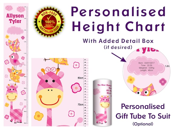 Height Growth Chart Personalised Wall Hanger For New Born Baby