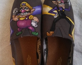 Handpainted Shoes Customized TOMS Cartoon Character Themed Custom Kicks Nerdy Gift Ideas Geek Fashion Videogame Accessories
