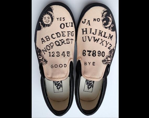 Ouija Board Hand Painted Shoes Custom Vans Slipons Goth Gift