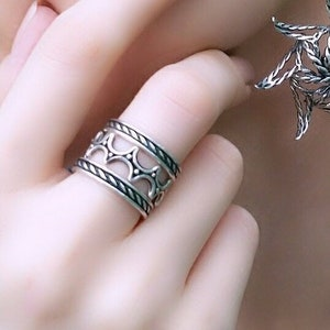 Buckler Shield Ring Solid Sterling Silver Ring,Oxidized  925 Antique Style Designer Ring Gift for Her Ring for women