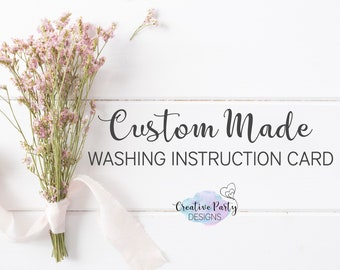 Custom Made Washing Instruction Card - Washing Instruction Tags - Laundry Care Tags - Your Ideas My Design - Printable or Printed for You