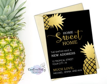 New Address Announcement - New Address Cards - Moving Announcement - Moving Away Card - Moving Announcement Printable - Pineapple Moving