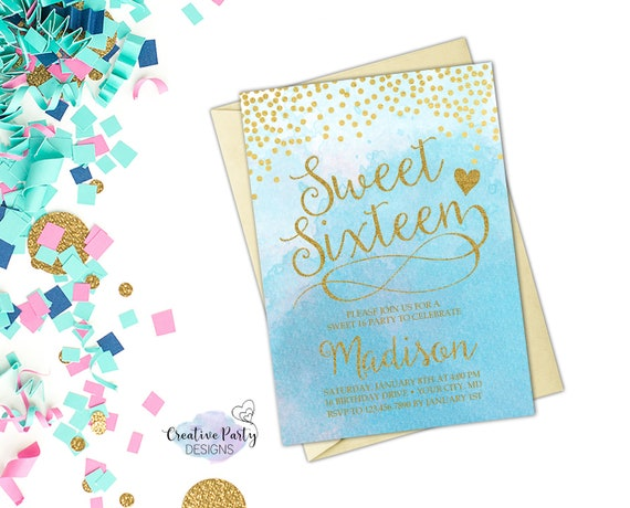 Sweet 16 Invitation Sweet Sixteen Invitation 16th Birthday Etsy