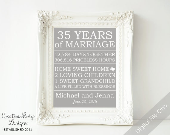 35 Wedding Anniversary Gift For Parents: Items Similar To 35th Anniversary Gift