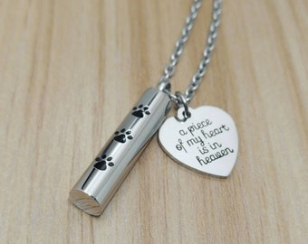 e6b4faf88 A piece of my heart is in heaven necklace, Paw print, Memorial urn necklace,  Cremation ashes dog, Cat remembrance gift, Pet loss jewelry