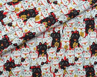 "90x140cm/35""x55"" The Maneki Neko Fortune Cat Cotton Polyester Canvas Fabric"
