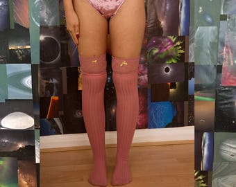 Sabrina Saturn Light Pink Knit & Lace Knee High Stockings - Celestial Beauty - Sheer - See Through - Soft - Lingerie - Socks - Comfort