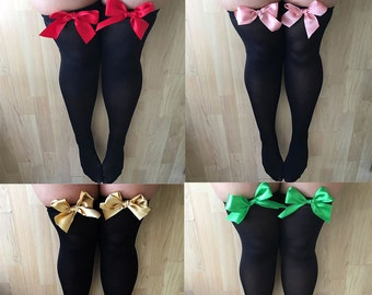SALE Ava Pin-Up Black Thigh High Stockings - Plus Size - Choose Colour Bows -  Lingerie - Socks - Erotic - UK Sellers Only - Pinup - Kawaii