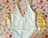 Sandy Shells White Ribbed Swimming Costume and Two Bow Scrunchies - Tropical Swimwear Gift Box Set