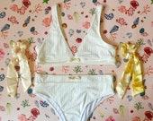 Sandy Shells White Ribbed Bikini Top Briefs Set and Two Bow Scrunchies - Tropical Swimwear Gift Box Set