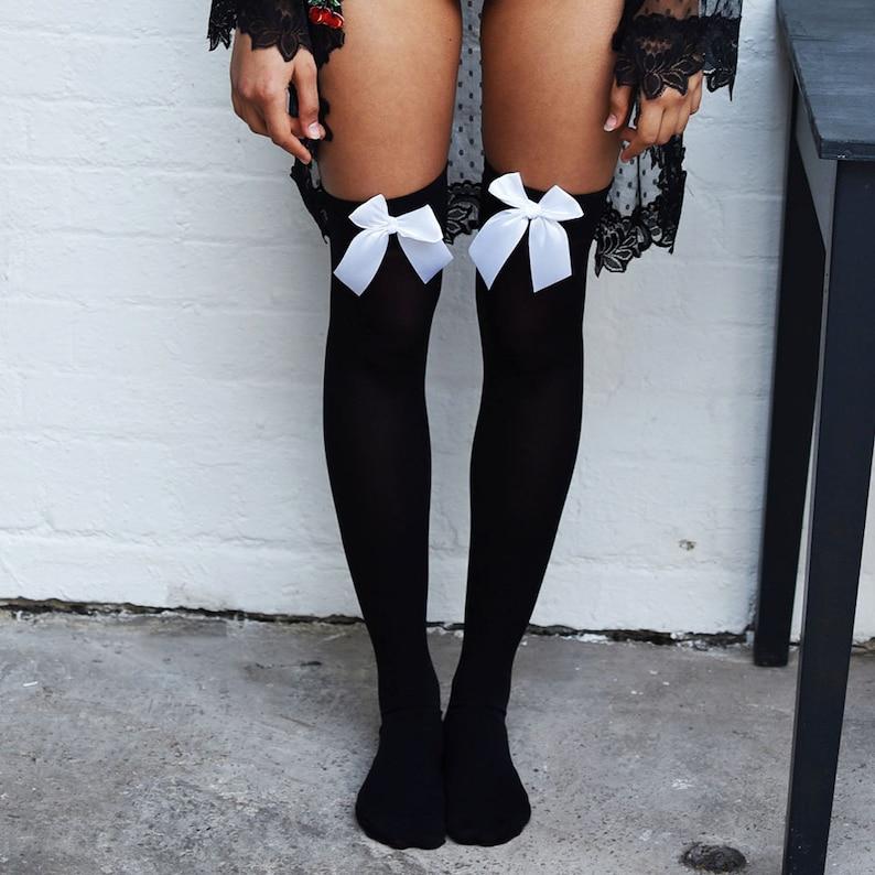 4acae07d936 Chiyo Cherries Black Thigh High Stockings Plus Size