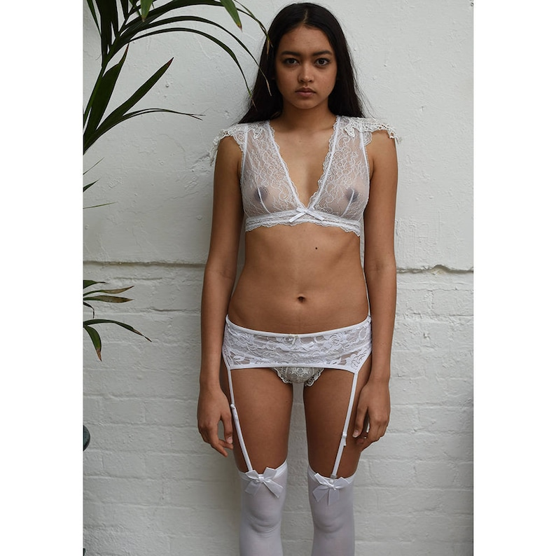 58d0d2b78a3 SALE Emiko Victoriana White Bra   Knickers Set Sheer