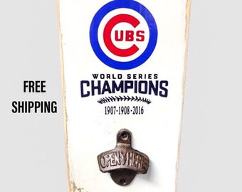 50d42970930 OZ Beer Lager Ale  info for Chicago Cubs Wood Sign with Bottle Opener Cubs  Baseball World Series Wrigley Feild Cubbies ...