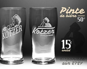 "Beer glass etched ""Kotzer juvenile beer"" [2 pieces to choose."