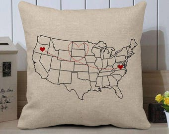 Map pillow case etsy personalized us map pillow casecustom world map cushion covercustom state to statechristmas long distance gift to friendscustom pillow gumiabroncs Choice Image