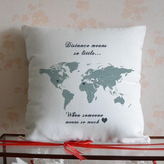 World Map Pillow Covercustom Map Pillow Caselong Distance Etsy