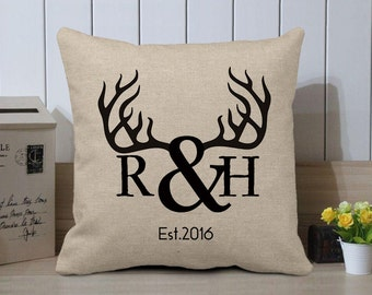 Personalized Deer Antlers Monogram Pillow Cover - Deer Head Pillow Case - Personalized Monogram Initials with Est. Date - Rustic Sofa Decor