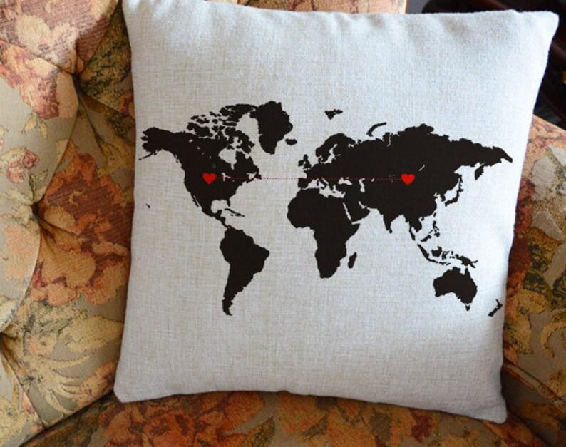 Custom World Map Pillow Cover Long Distancegift Boyfriend Etsy