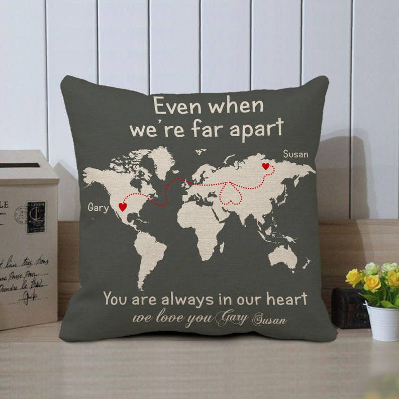 World Map Pillow Cover Personalized Cushion Case Long Etsy