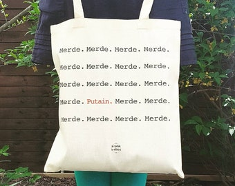 Tote bag canvas Merde Fuck French message Gifts for her Gift fr him bag shopping by decartonetdetoiles