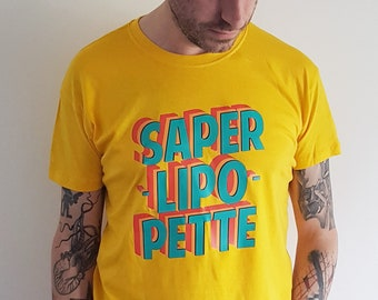 """Tshirt """"Saperlipopette"""" (old french for shit) colorful graphic style lettering by decartonetdetoiles"""