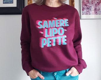 Sweatshirt Long Sleeve red Samèrelipopette unisex fleece for men and women by decartonetdetoiles