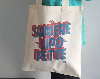 Tote bag canvas Samèrelipopette game between 2 french words for a feminist message gift bag shopping by decartonetdetoiles