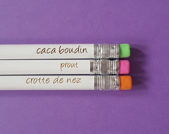 Set of 3 french message children pencils by decartonetdetoiles