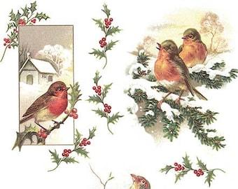 Rice Paper Decoupage Scrapbook Craft Sheet Christmas Winter Birds 270