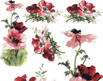 Painted Red Flowers ITD R564 Rice Paper for Decoupage Scrapbooking