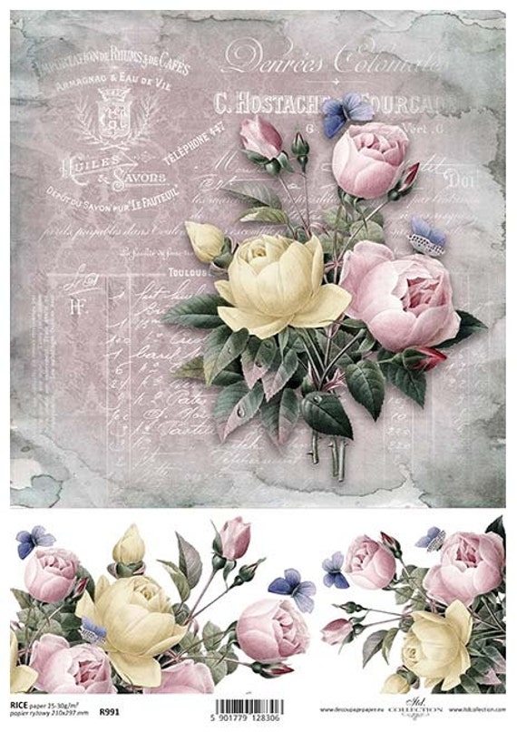 Rice paper sheet decoupage paper roses rice paper r991 etsy image 0 mightylinksfo