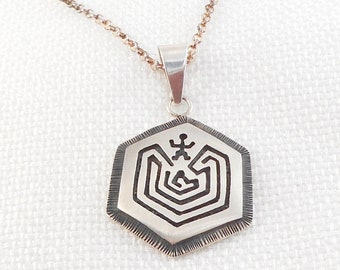 3fb66afe7f89 Vintage Sterling Silver Tohono O'odham Man in the Maze Necklace Unisex Man  in the Maze Pendant Necklace Papago Indian Necklace For Him Her