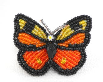 Vintage Artisan Made Glass Seed Bead Butterfly Pin Brooch Total Glass Beads Butterfly Pin Orange Black Yellow Butterfly Pin Gift for Her