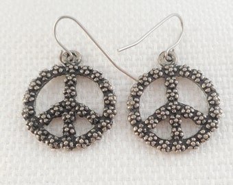 Vintage Drop Wire Peace Sign Earrings Brutalist Style Peace Sign Earrings Boho Peace Sign Earrings Gift for Her Beaded Peace Earrings