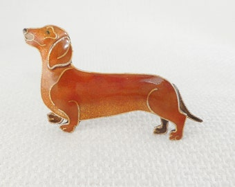 Vintage Rare Zarah Sterling Enamel Dachshund  Brooch Julia Pinkham 925 Enamel Weenie Dog Brooch Dachshund Jewelry Gift for Her Zarah Brooch