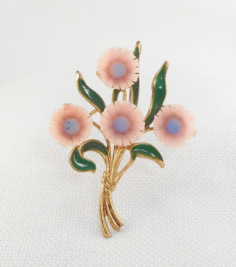 Vintage 1930/'s Pink Celluloid Flowers Brooch Bouquet Celluloid Flowers Brooch Pin Early Century Celluloid /&Metal Flowers Brooch Pink Flowers